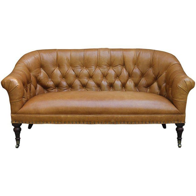 Tan Edwardian Style Buttoned Back Leather Sofa For Sale - Image 8 of 8