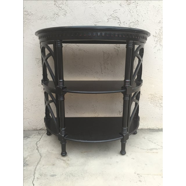 Black Wood Bamboo Style Demilune Entry Table - Image 2 of 7