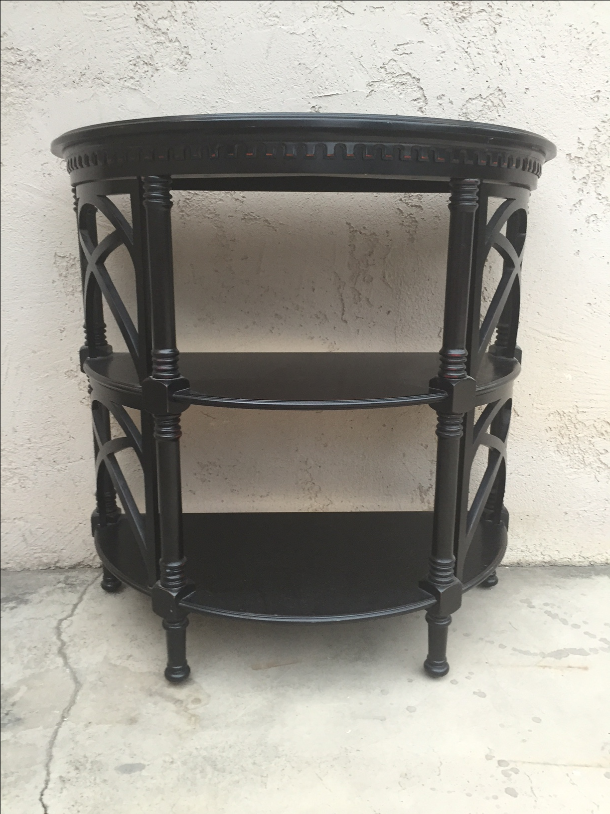 Chinoiserie Or Asian Inspired Three Tiered Wood Demuline Table With Bamboo  Shaped Accents Painted Black