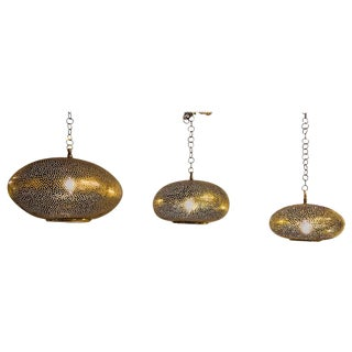 1990s Vintage Oval Shaped Brass Pendant Chandeliers- 3 Pieces For Sale