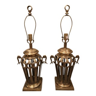 1960s Vintage Heavy Brass Open Work Lamps - a Pair For Sale