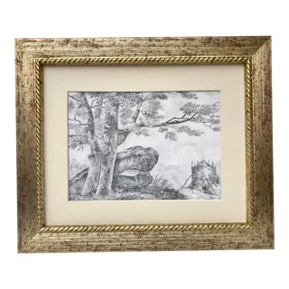 Antique Original French Landscape Drawing With Figure For Sale
