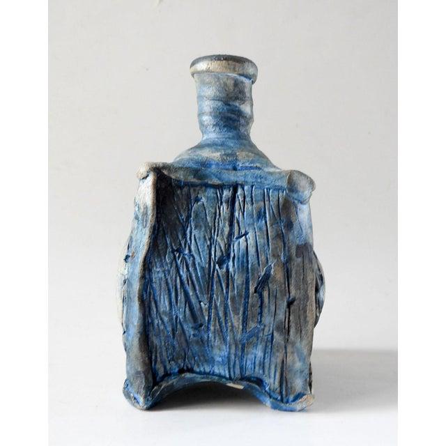 Abstract Studio Raku Pottery Bottle or Vase For Sale - Image 3 of 7
