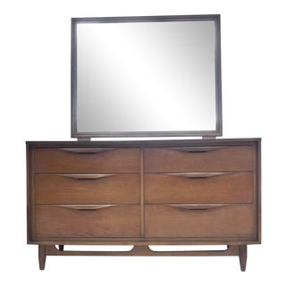 Mid-Century Modern Six Drawer Dresser With Mirror For Sale