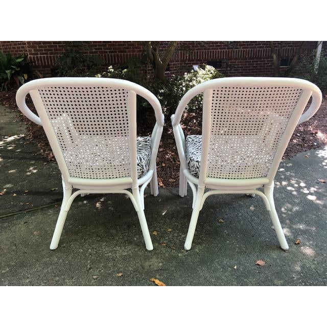 Vintage Mid Century White Rattan Arm Chairs- A Pair For Sale - Image 4 of 12