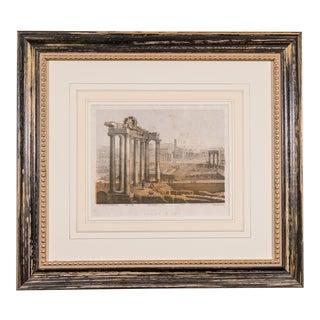 19th Century Antique Madcap Cottage Roman Ruins Engraving Print For Sale