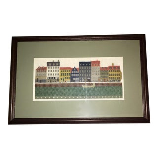 Handcrafted Needlepoint of Danish Waterfront For Sale