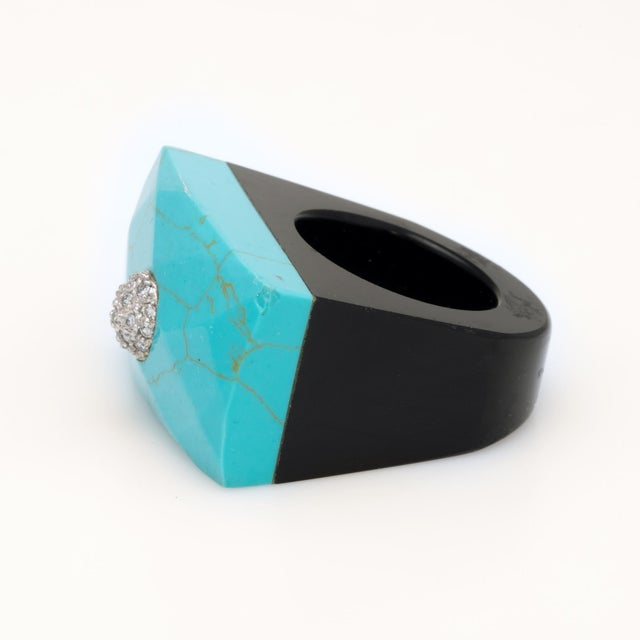 East West Turquoise Onyx Diamond Cocktail Ring For Sale - Image 4 of 7