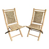 Image of Mid-Century Modern Hans Wagner Style Bamboo Rope Folding Lounge Chairs - a Pair For Sale