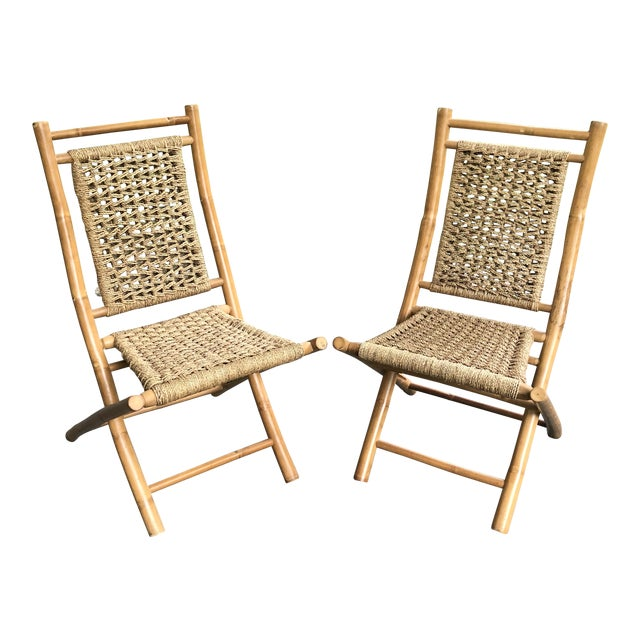 Mid-Century Modern Hans Wagner Style Bamboo Rope Folding Lounge Chairs - a Pair For Sale