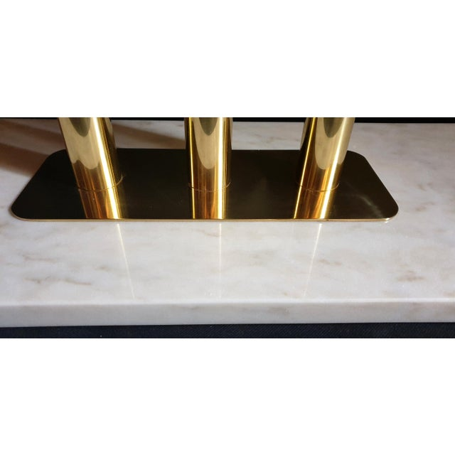 White Large Mid-Century Modern White & Gray Carrara Marble & Brass Console Table, Italy For Sale - Image 8 of 13