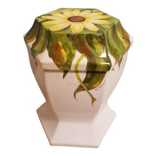 Boho Chic Sunflower Artist Painted Pottery Garden Seat or End Table For Sale