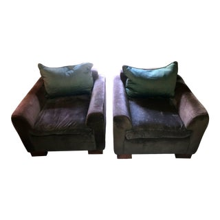 ABC Gray Velvet Club Chairs - A Pair For Sale