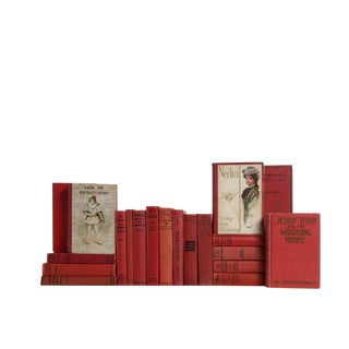 Vintage Crimson Book Set, S/20 For Sale