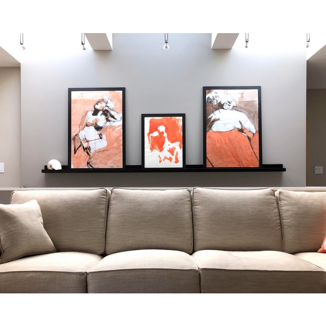 """Paper Contemporary Figure Painting in Orange Ink, """"Seated Figure in Orange"""" by Artist David O. Smith For Sale - Image 7 of 12"""