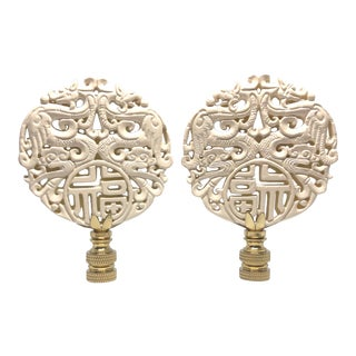 Chinoiserie Cream Lacquer Lamp Finials - a Pair