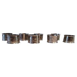 Vintage Engraved Leaf Napkin Rings - Set of 8 For Sale