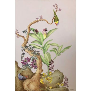 """Olivia's Garden"" Chinoiserie Bird Art Painting by Allison Cosmos For Sale"