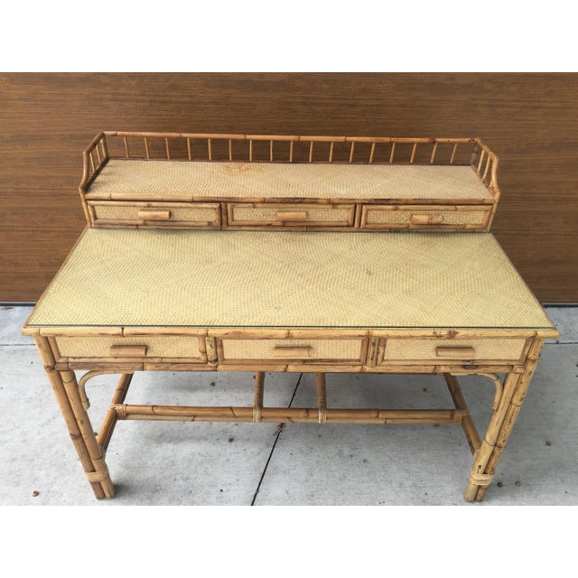 1950s Boho Chic Palm Beach Regency Bamboo & Rattan Desk For Sale - Image 9 of 9