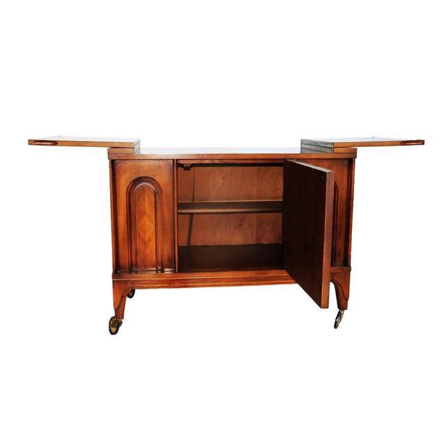 Mid Century modern Walnut Flip Top Bar Cabinet - Image 5 of 7