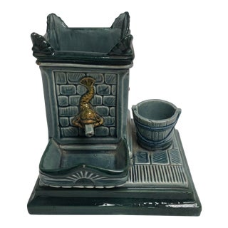 Antique Continental Majolica Smoking Stand For Sale