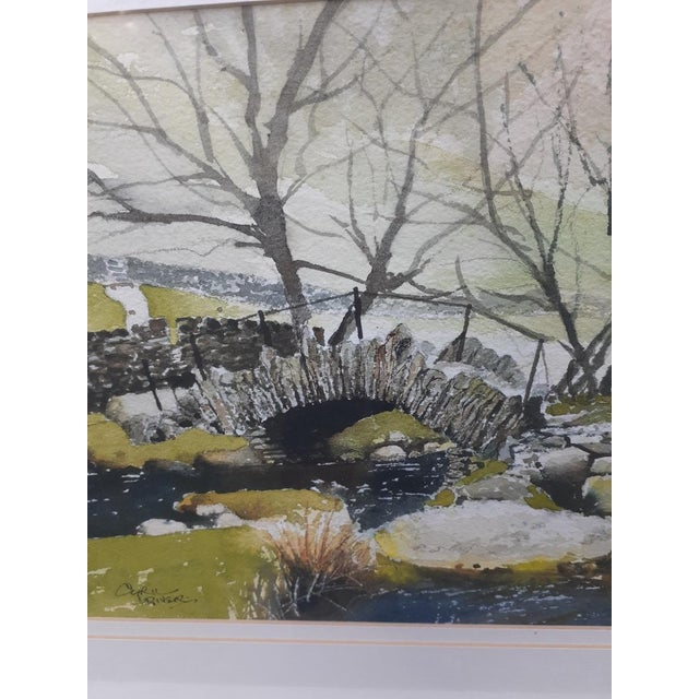 """English Late 20th Century """"Slater Bridge in Little Langdale"""" Watercolor Painting by Cyril Driver, Framed For Sale - Image 3 of 8"""