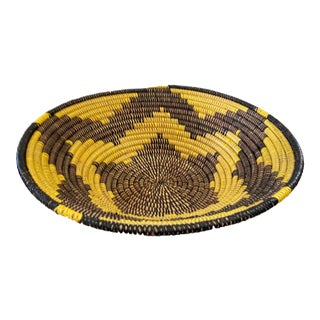 "Lg Handmade Woven Wolof Basket From Senegal 17.5"" in D For Sale"