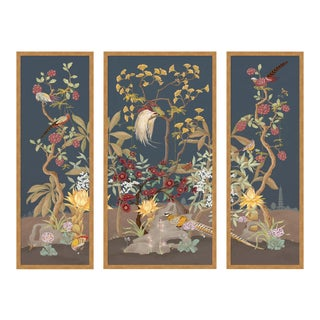 Forest & Pheasants by Allison Cosmos, Set of 3, in Gold Framed Paper, Medium Art Print For Sale