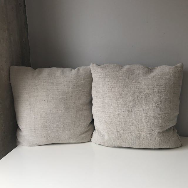 French Grain Sack Pillows - A Pair - Image 5 of 7