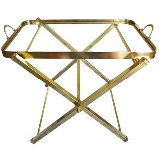 Italian Brass Serving Tray SideTable For Sale