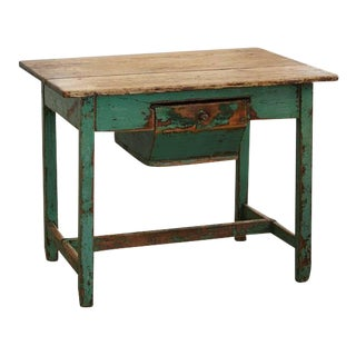 19th Century Primitive Painted Dough Farm Table with Large Drawer For Sale