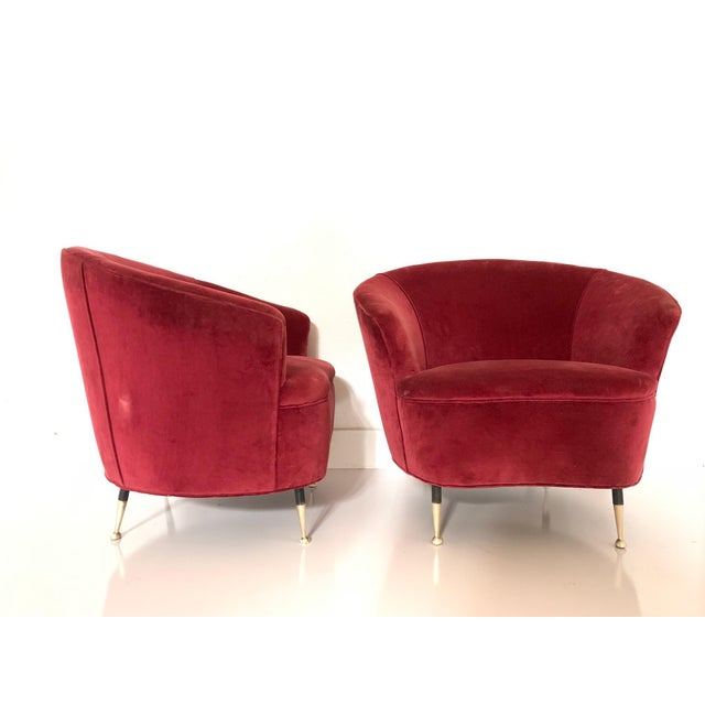 Metal Pair of 1950s Italian Lounge Chairs For Sale - Image 7 of 8