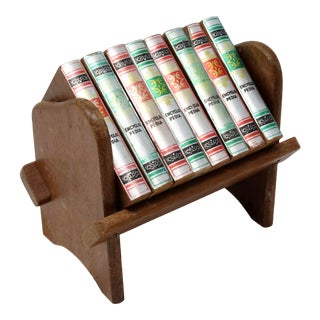 Vintage Wood Encyclopedia Set Beverage Coasters With Rack - Set of 9 For Sale