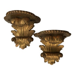 Hollywood Regency Acanthus Leaf Gold Gilt Wall Brackets - a Pair For Sale