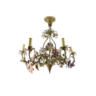 1940s Vintage Hollywood Regency Period Maison Bagues Crystal Flowered Chandelier For Sale