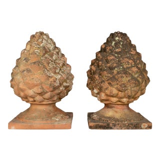 Antique French Terracotta Pinecone Garden Finials - a Pair For Sale
