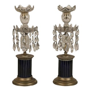 19th Century Regency Cobalt and Crystal Candlesticks - a Pair For Sale