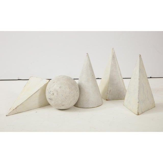 Cream White Painted Wooden Geometric Molds - Set of 5 For Sale - Image 8 of 10