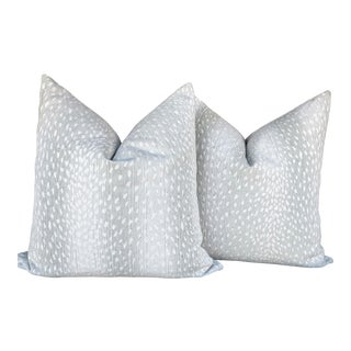 Contemporary Performance Fabric Antelope Pillow Covers - a Pair For Sale