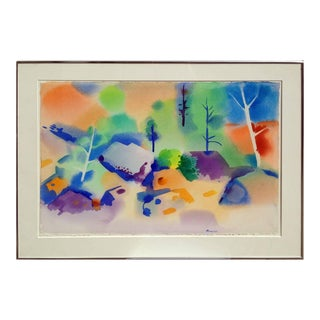 """1970s """"Boulders and Trees"""" Abstract Watercolor Painting by Erle Loran, Framed For Sale"""