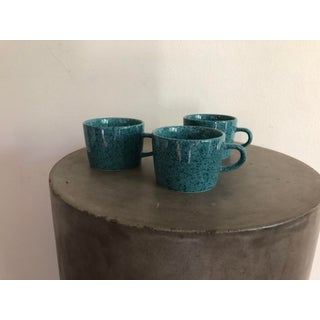 Vintage Japanese Turquoise Ceramic Teacups - Set of 3 Preview