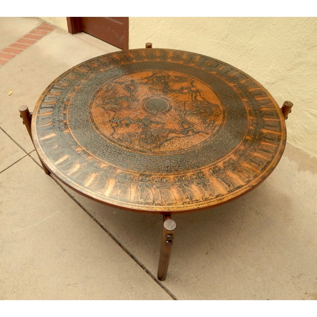 Egyptian Theme Stamped Copper Coffee Table Ca 1970 - Image 3 of 7