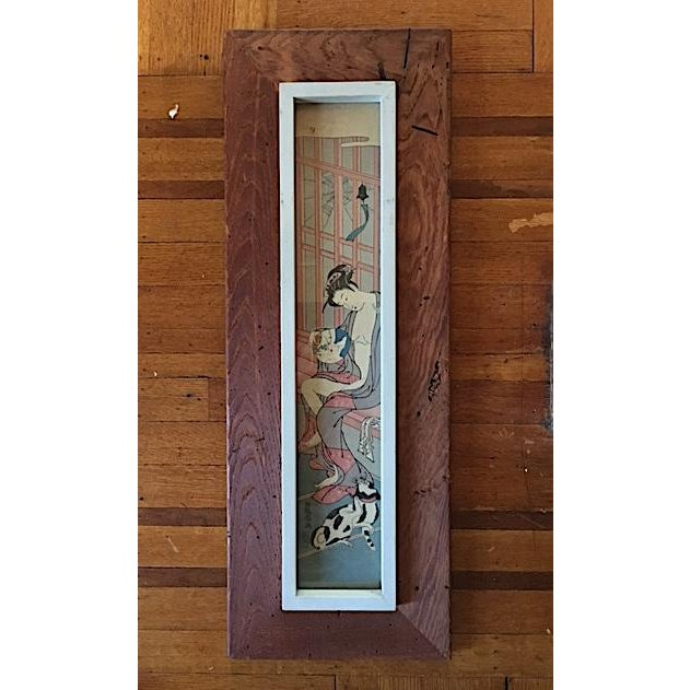 Early 20th Century Asian Rustic Wood Framed Wood Block Print For Sale - Image 5 of 5