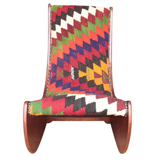Boho Chic Wood Folding Rocking Chair For Sale