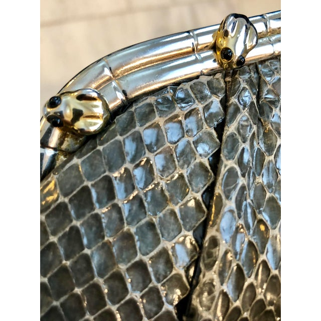 1980s Vintage Judith Leiber Grey Python Clutch With Frog Charm Detail For Sale - Image 5 of 11