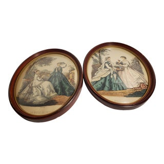 """Early 20th Century """"La Mode Illustree"""" Victorian Style Figurative Reproduction Prints by Leroy Imp. Paris, Framed - Set of 2 For Sale"""