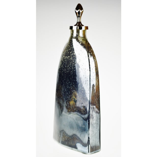 Vintage Mercury Glass Style Decorative Vase With Topper For Sale In Philadelphia - Image 6 of 13