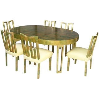 James Mont Camouflage Gold Leaf Dining Room Set of 6 For Sale