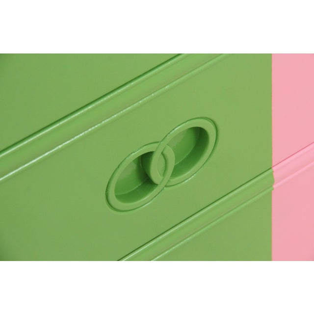 Midcentury Style Green and Pink Chest of Drawers - Image 4 of 7