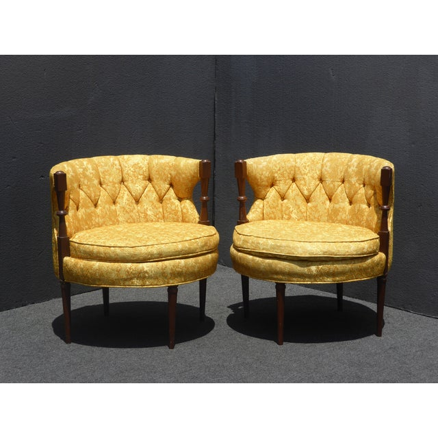 1960s 1960s Vintage Stacey House Atomic Era Gold Club Chairs - a Pair Mid Century Modern For Sale - Image 5 of 13
